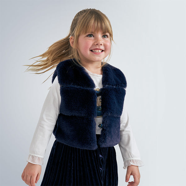 AW20 Mayoral Girls Navy Blue Faux Fur Gilet