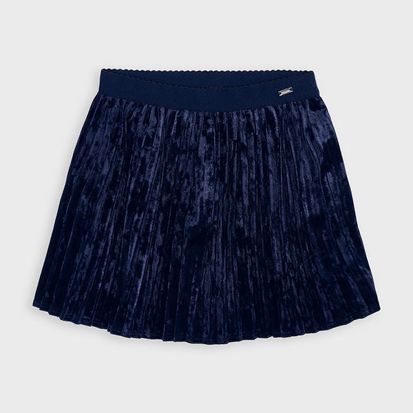 AW20 Mayoral Girls Navy Blue Velvet Skirt 4955
