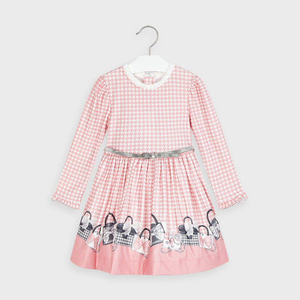 AW20 Mayoral Girls Pink & White Dogtooth Dress 4963