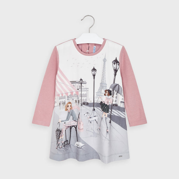 AW20 Mayoral Girls Pink Paris Dress 4987