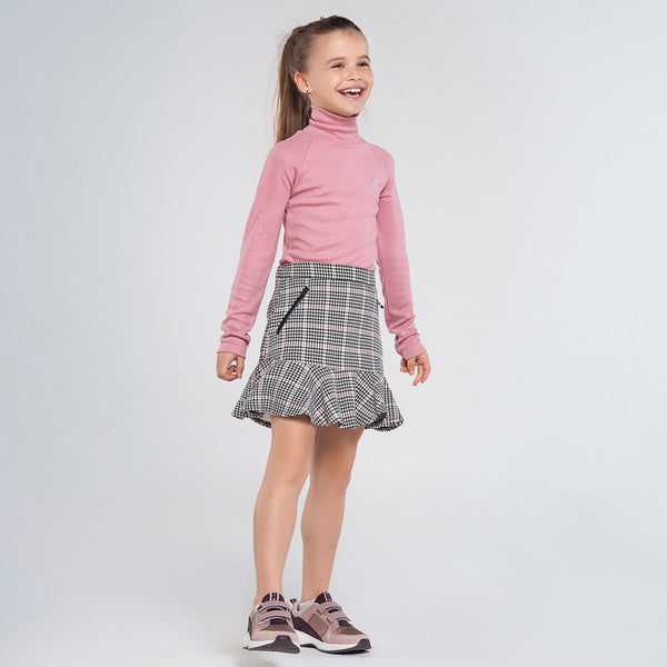 AW20 Mayoral Older Girls Dogtooth Pink & Black Skirt 7947