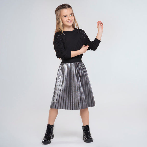 AW20 Mayoral Older Girls Metallic Pleated Midi Skirt 7948