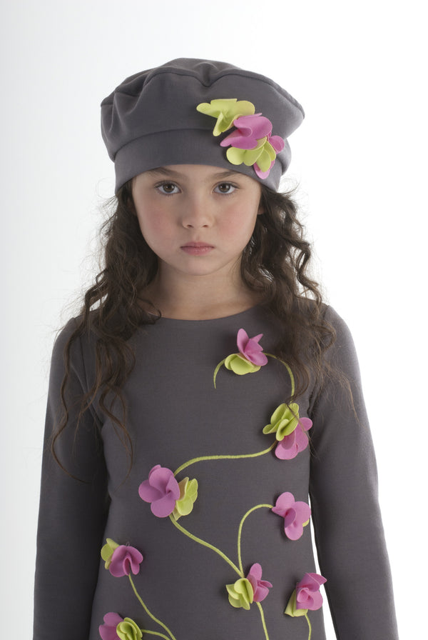 AW16 Kate Mack 'Flower Flair' Grey Hat - Liquorice Kids