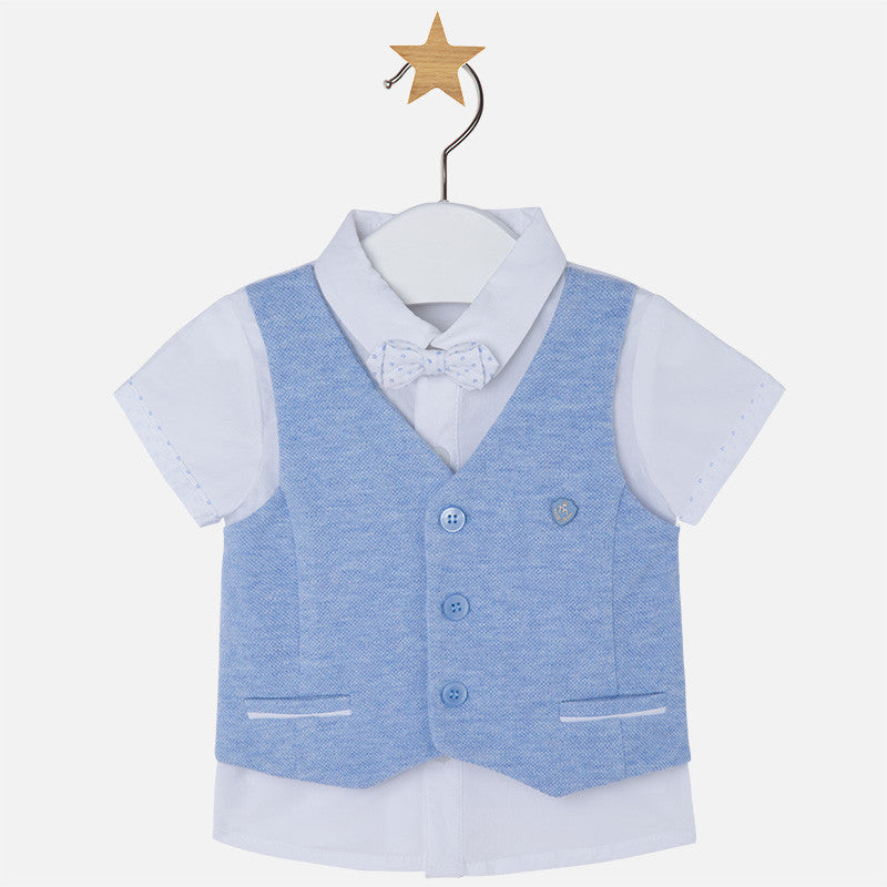a5b9072bd332 SS17 Mayoral Baby Boys Shirt With Waistcoat Vest & Bow Tie 1117 ...