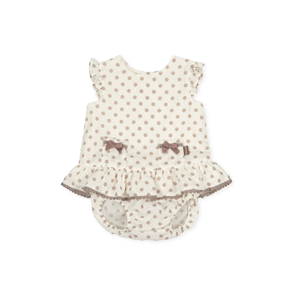 SS21 Tutto Piccolo Baby Girls Beige Polka Dot Dress & Knickers Set 1213