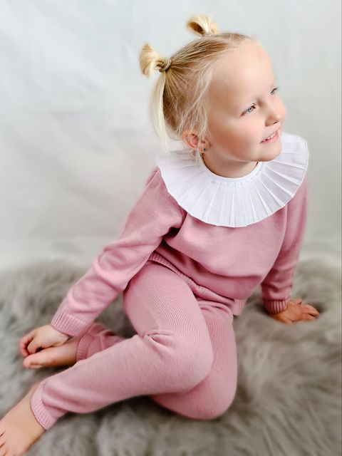 Aurea Pleated Collar Dusky Pink Girls Knit Tracksuit