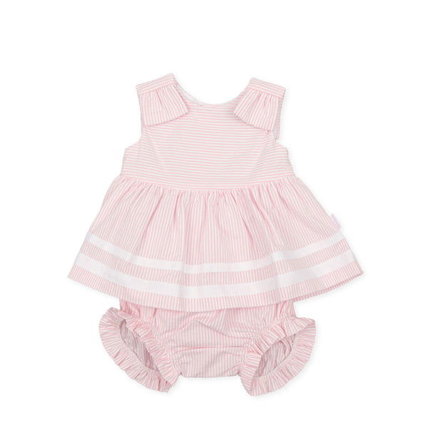 SS21 Tutto Piccolo Baby Girls Pink & White Stripe Dress & Knickers Set 1225