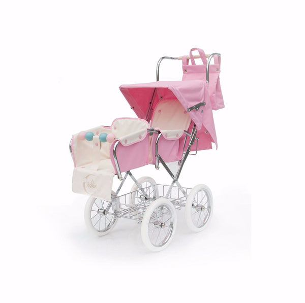 Spanish Paris Big Doll's Twin Pram In Pink