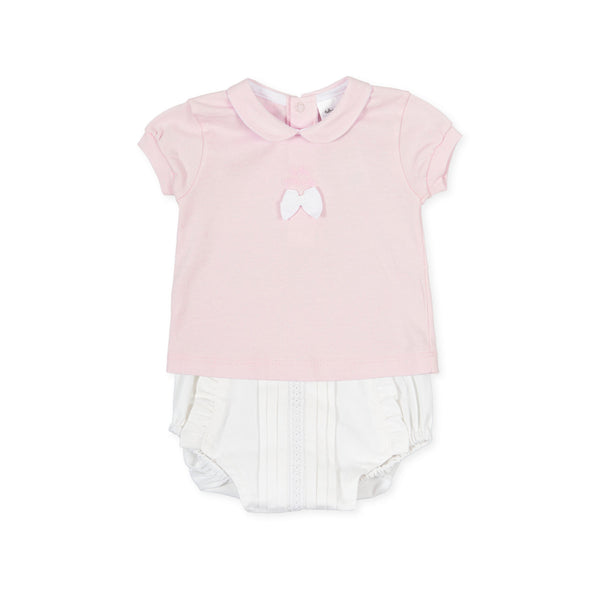 SS21 Tutto Piccolo Baby Girls Pink & White Jam Pants Set 1581