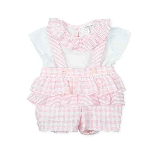 SS21 Tutto Piccolo Baby Girls Pink & White Dungaree Set 1582