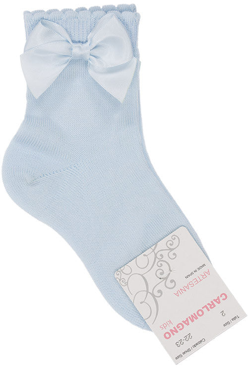 Carlomagno Baby Blue Single Bow Ankle Socks