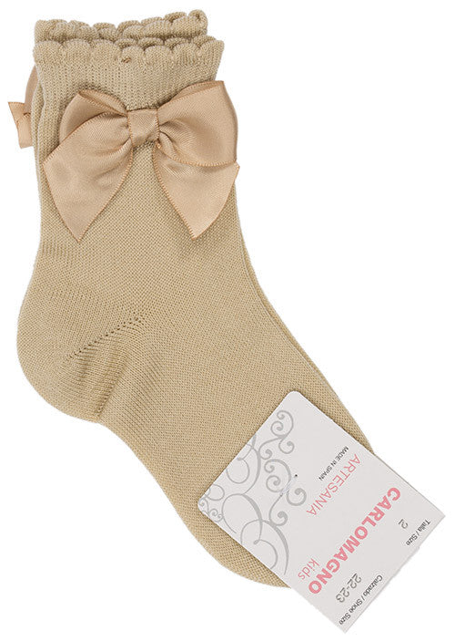 Carlomagno Light Camel Single Bow Ankle Socks - Liquorice Kids