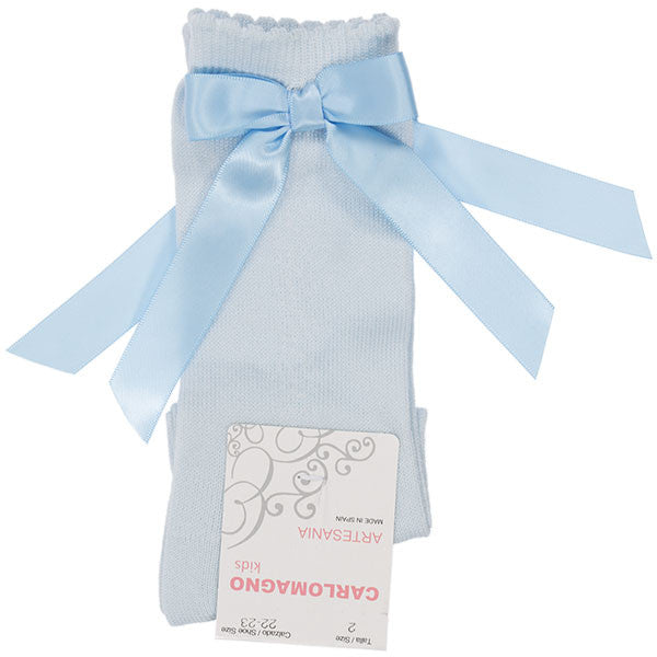Carlomagno Baby Blue Single Bow Knee High Socks
