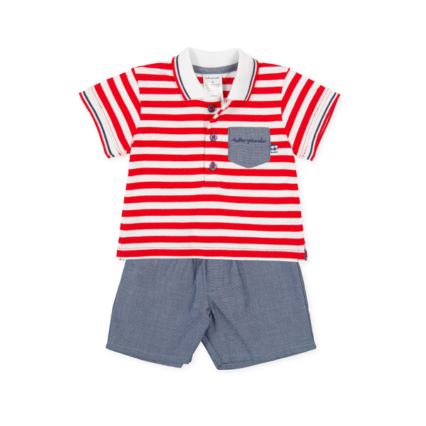 SS21 Tutto Piccolo Boys Red & White Stripe Shorts Set 1590