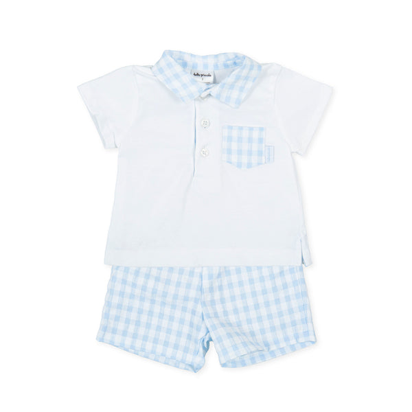 SS21 Tutto Piccolo Boys Blue & White Check Shorts Set 1682