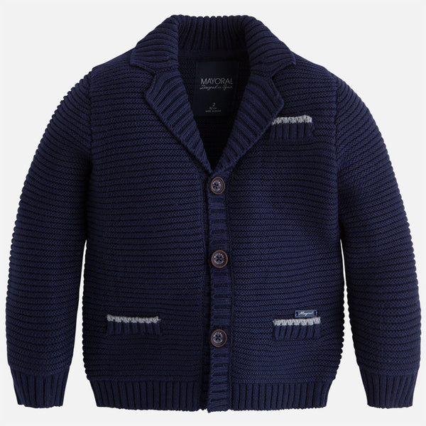 AW17 Mayoral Boys Navy Knitted Cardigan 4443