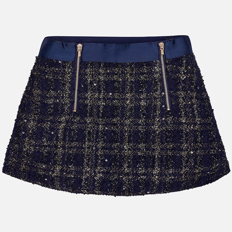 AW17 Mayoral Older Girls Navy & Gold Tweed Skirt 7901