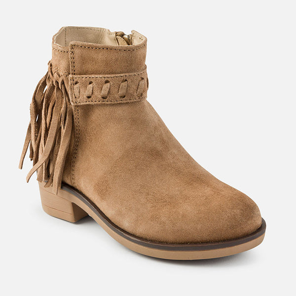 AW17 Mayoral Girls Dark Beige Fringed Boots 44723