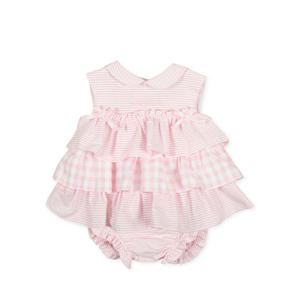 SS21 Tutto Piccolo Baby Girls Pink & White Dress & Knickers Set 1782