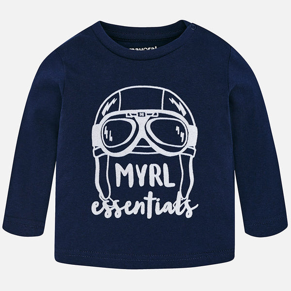 AW18 Mayoral Toddler Boys Navy Blue Long Sleeved Top 108