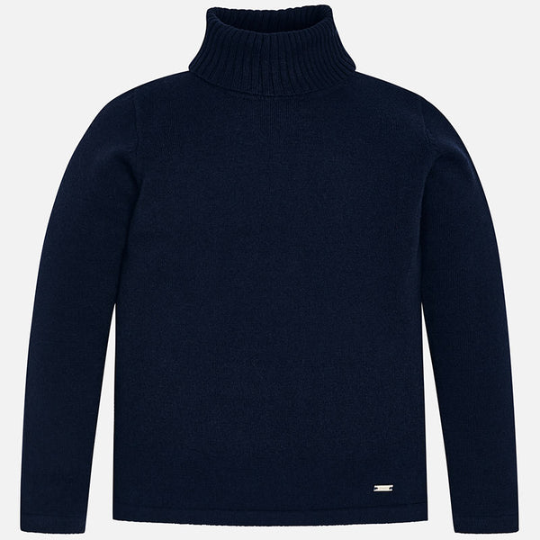 AW18 Mayoral Girls Navy Roll Neck Knitted Jumper 313