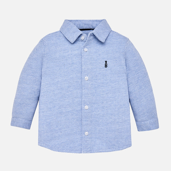 AW18 Mayoral Toddler Boys Blue Herringbone Shirt 2134
