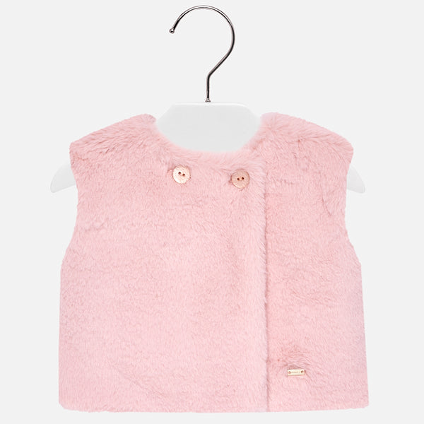 AW18 Mayoral Toddler Girls Pink Faux Fur Gilet 12-24 Months 2462