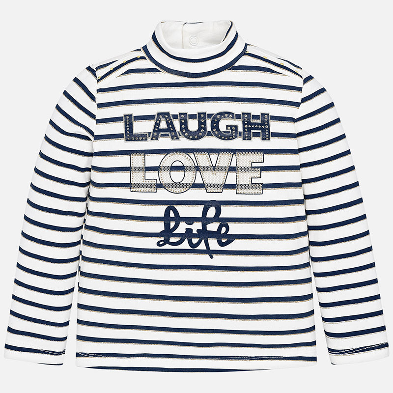 AW18 Mayoral Girls Navy Blue Stripe 'Laugh, Love, Life' Top 4004