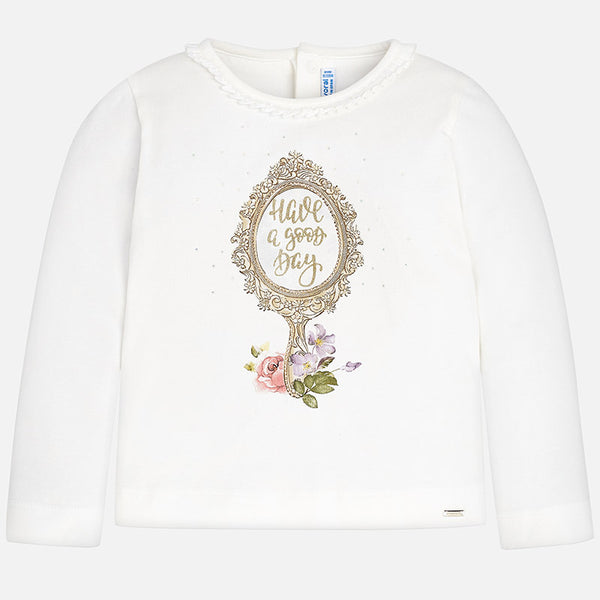 AW18 Mayoral Girls Ivory Mirror Top 4046