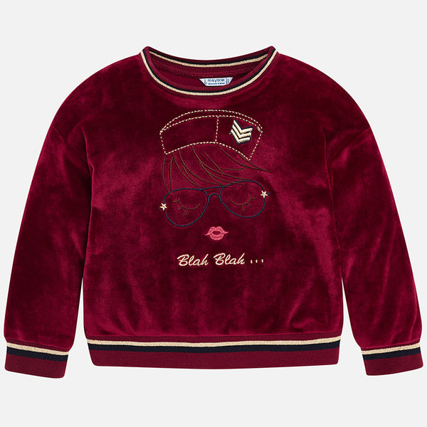 AW18 Mayoral Girls Raspberry Embroidered Jumper 4458