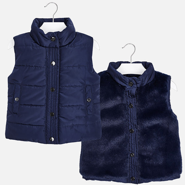 AW18 Mayoral Girls Navy Blue Reversible Gilet 4470