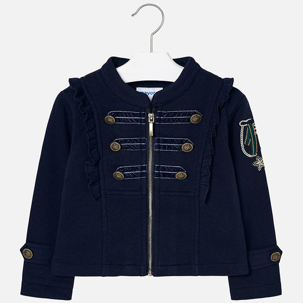 AW18 Mayoral Girls Navy Blue Military Jacket 4480
