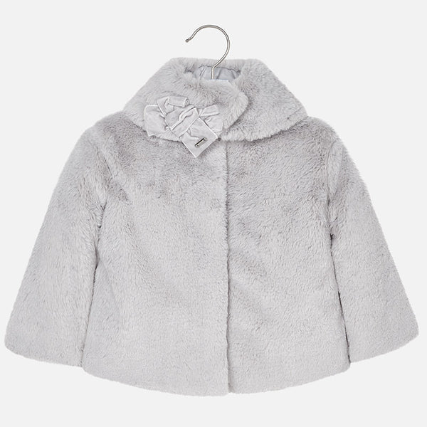 AW18 Mayoral Girls Grey Faux Fur Coat 2-9 Years 4494