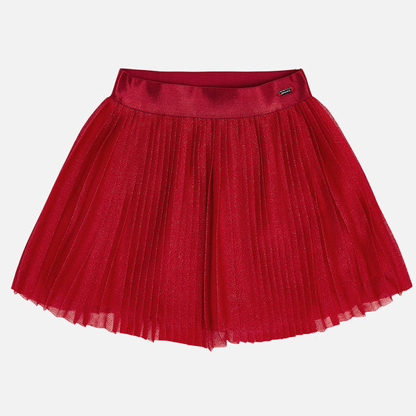 AW18 Mayoral Girls Red Sparkly Pleated Skirt 4912