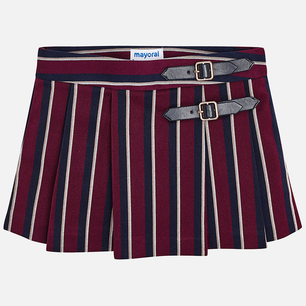 AW18 Mayoral Girls Burgundy & Navy Pleated Skirt 4918