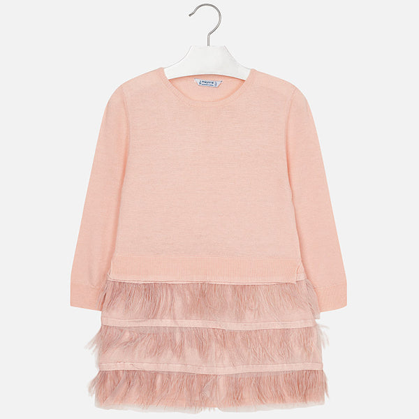 AW18 Mayoral Girls Pink Feather Dress 4930