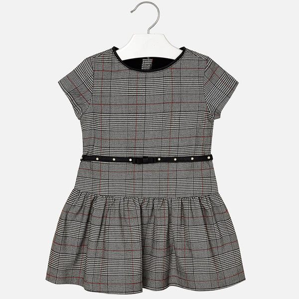 AW18 Mayoral Girls Grey Check Dress 4958