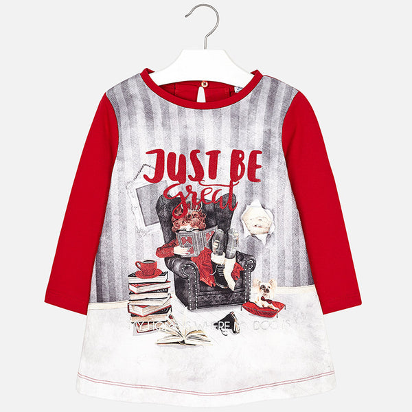 AW18 Mayoral Girls Red 'Just Be Great' Dress 4972