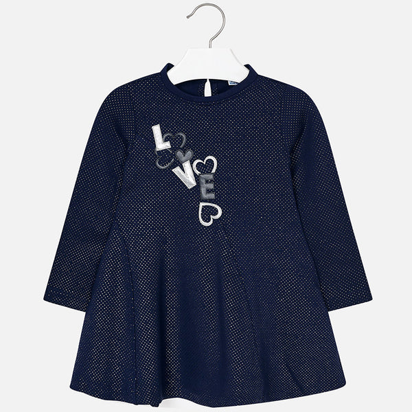 AW18 Mayoral Girls Navy Love Dress & Leggings Set  4974