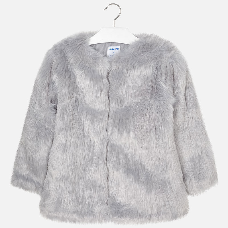AW18 Mayoral Older Girls Grey Faux Fur Coat 7476
