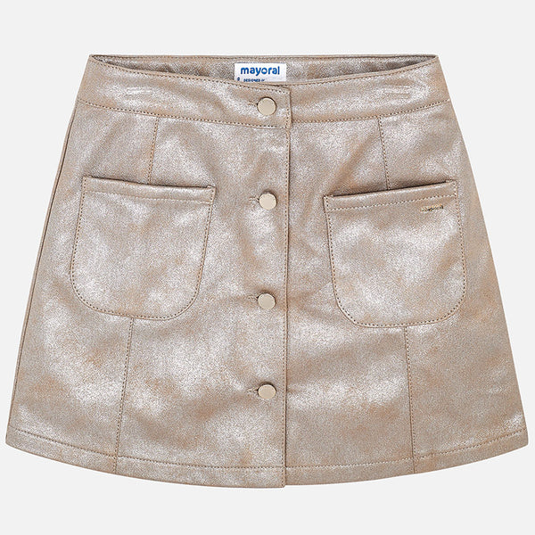 AW18 Mayoral Older Girls Champagne Faux Leather Skirt 7910