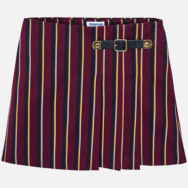 01513cdff5c8c AW18 Mayoral Older Girls Burgundy & Navy Pleated Skirt 7912