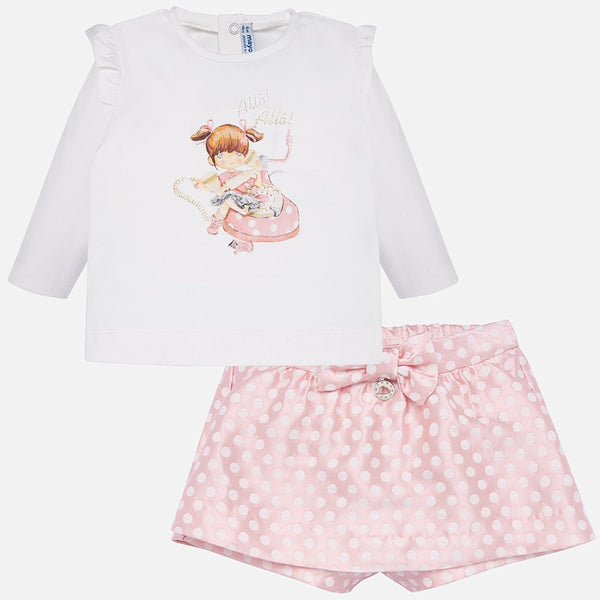 AW19 Mayoral Toddler Girls Pink Polka Dot Shorts Set 2209
