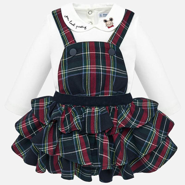AW19 Mayoral Toddler Girls Tartan Pinafore Dress Set 2623