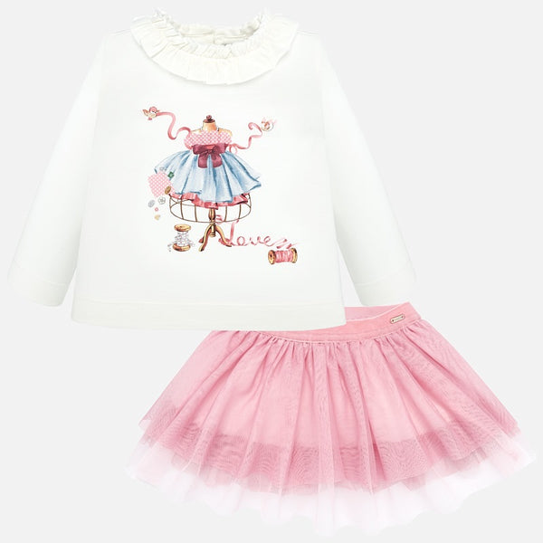 AW19 Mayoral Toddler Girls Pink Tulle Skirt Set 2936