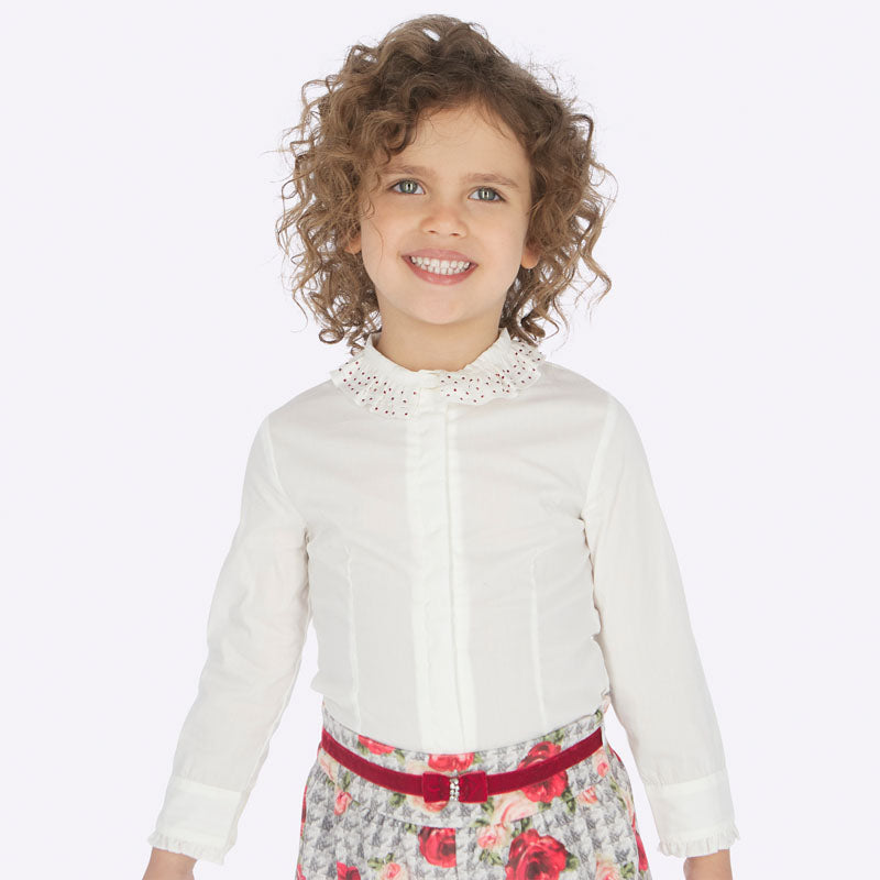 AW19 Mayoral Girls White Ruffle Collar Red Rhinestone Blouse 4102