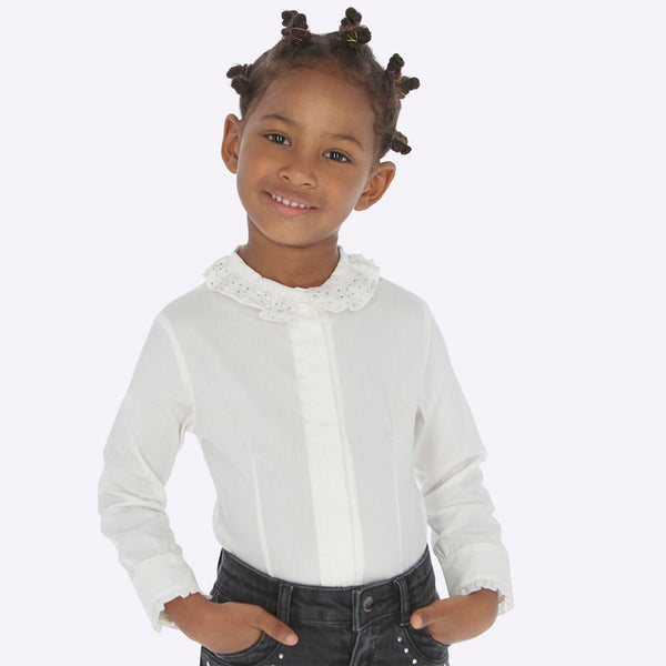 AW19 Mayoral Girls White Ruffle Collar Rhinestone Blouse 4102