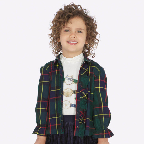 AW19 Mayoral Girls Green Tartan Blouse Leggings Set 4106 & 4704