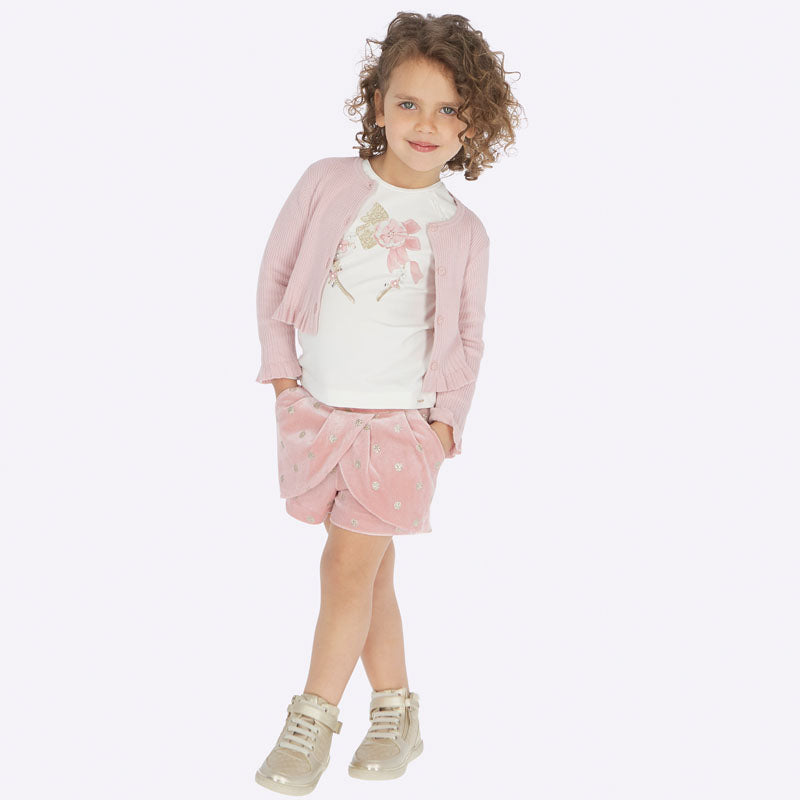 AW19 Mayoral Girls Pink & Glitter Shorts 4201