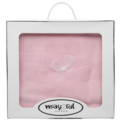Mayoral Baby Pink Teddy Bear Bow Blanket 19843